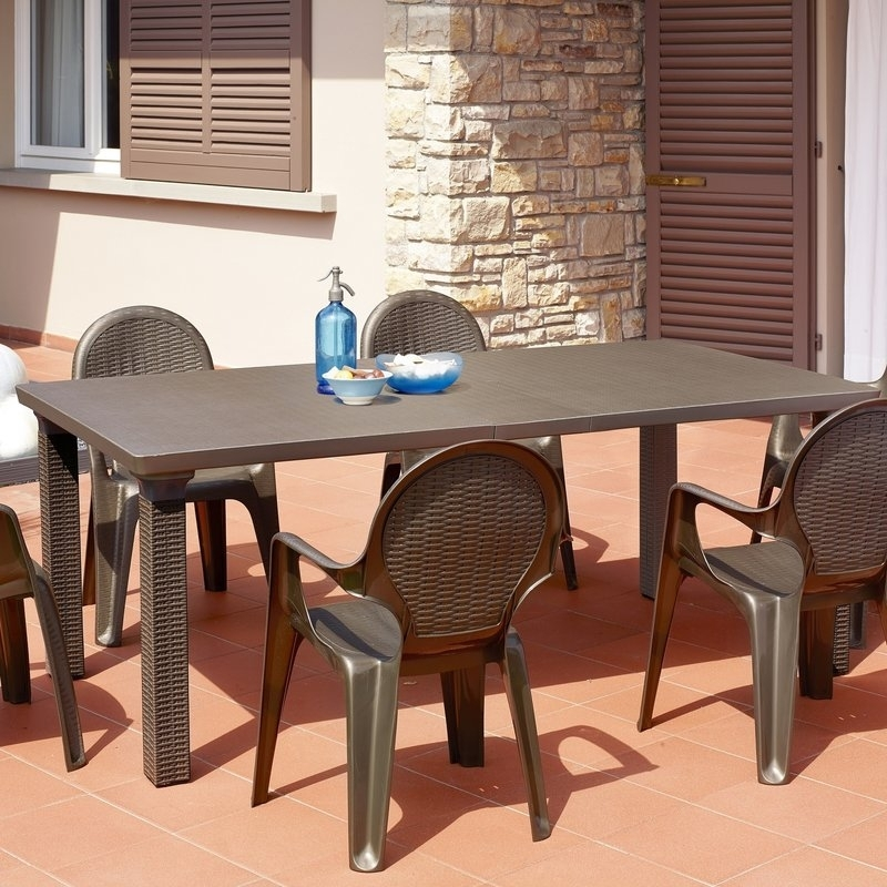 Scab Triplo Rattan Style Extending Outdoor Dining Table | Wayfair.co (View 8 of 25)