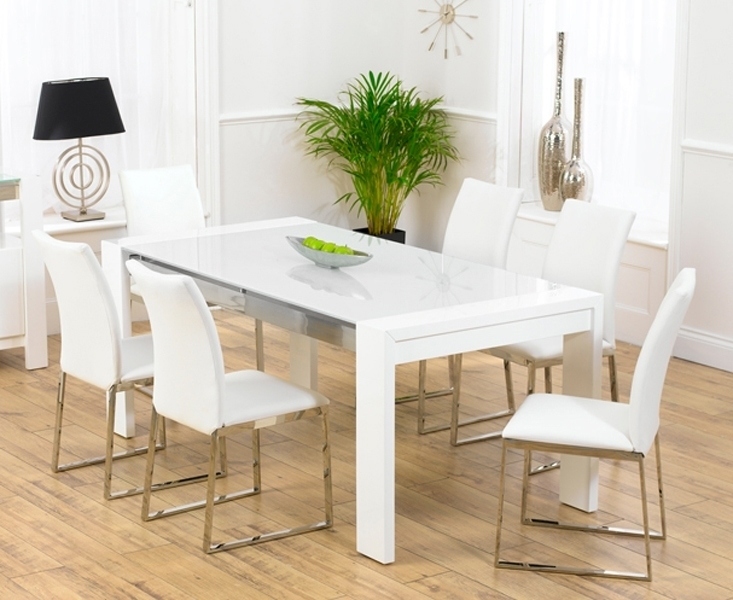 Scala White Gloss Dining Table Tufted Leather Dining Chair In White Gloss Dining Tables And 6 Chairs (Image 19 of 25)