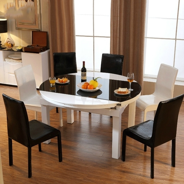 Scalable Round Glass Dining Table Minimalist Modern Fashion Piano in Round Glass And Oak Dining Tables