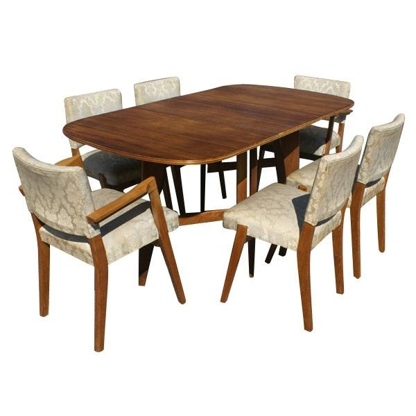 Scandinavian Dining Set 6 Chairs Drop Leaf Table Ebay Painted Dining In Ebay Dining Chairs (View 3 of 25)
