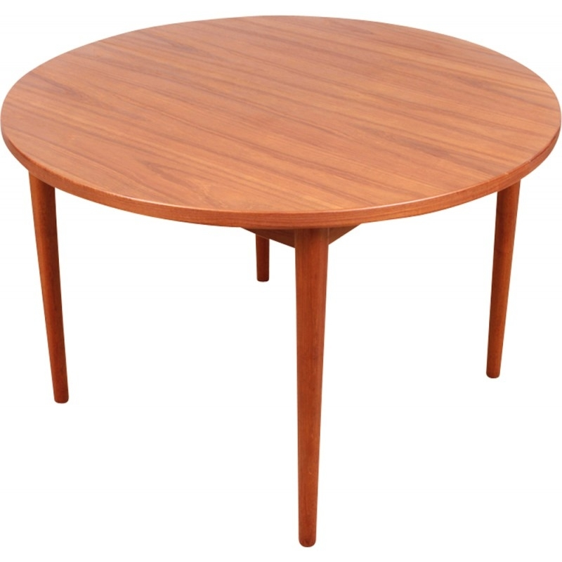 Scandinavian Round Teak Dining Table With 1 Extensionnils Throughout Round Teak Dining Tables (Image 20 of 25)