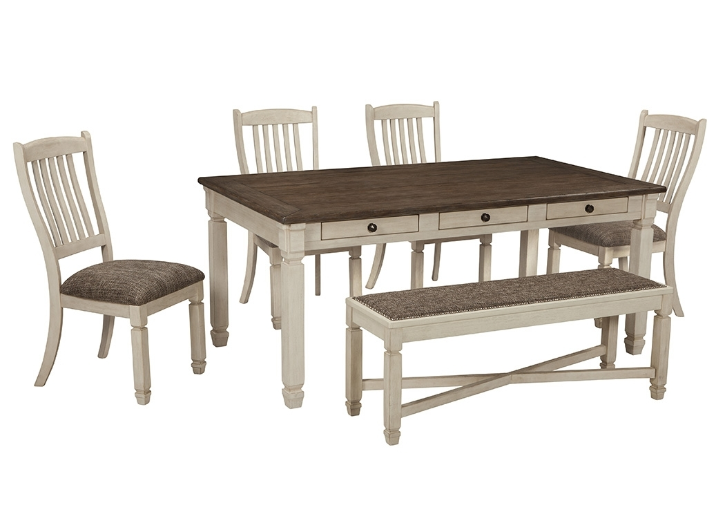 Scott's Furniture Bolanburg Antique White Rectangular Dining Room In Craftsman 5 Piece Round Dining Sets With Uph Side Chairs (Image 21 of 25)