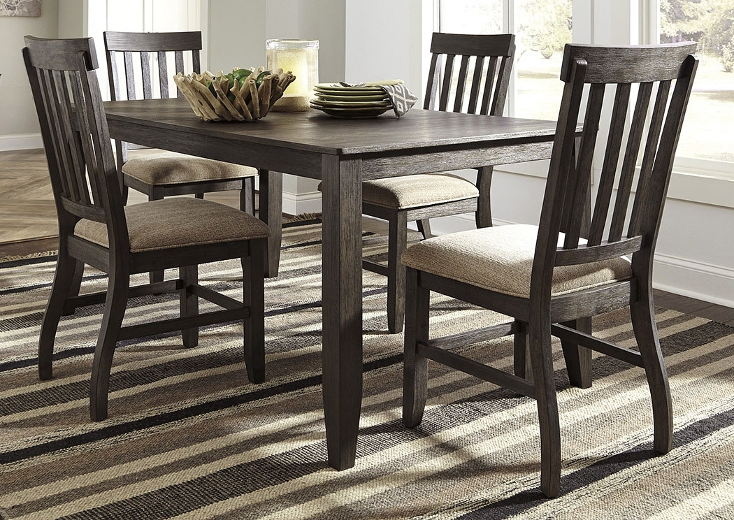 Scott's Furniture Dresbar Grayish Brown Rectangular Dining Room With Craftsman 5 Piece Round Dining Sets With Uph Side Chairs (Image 22 of 25)
