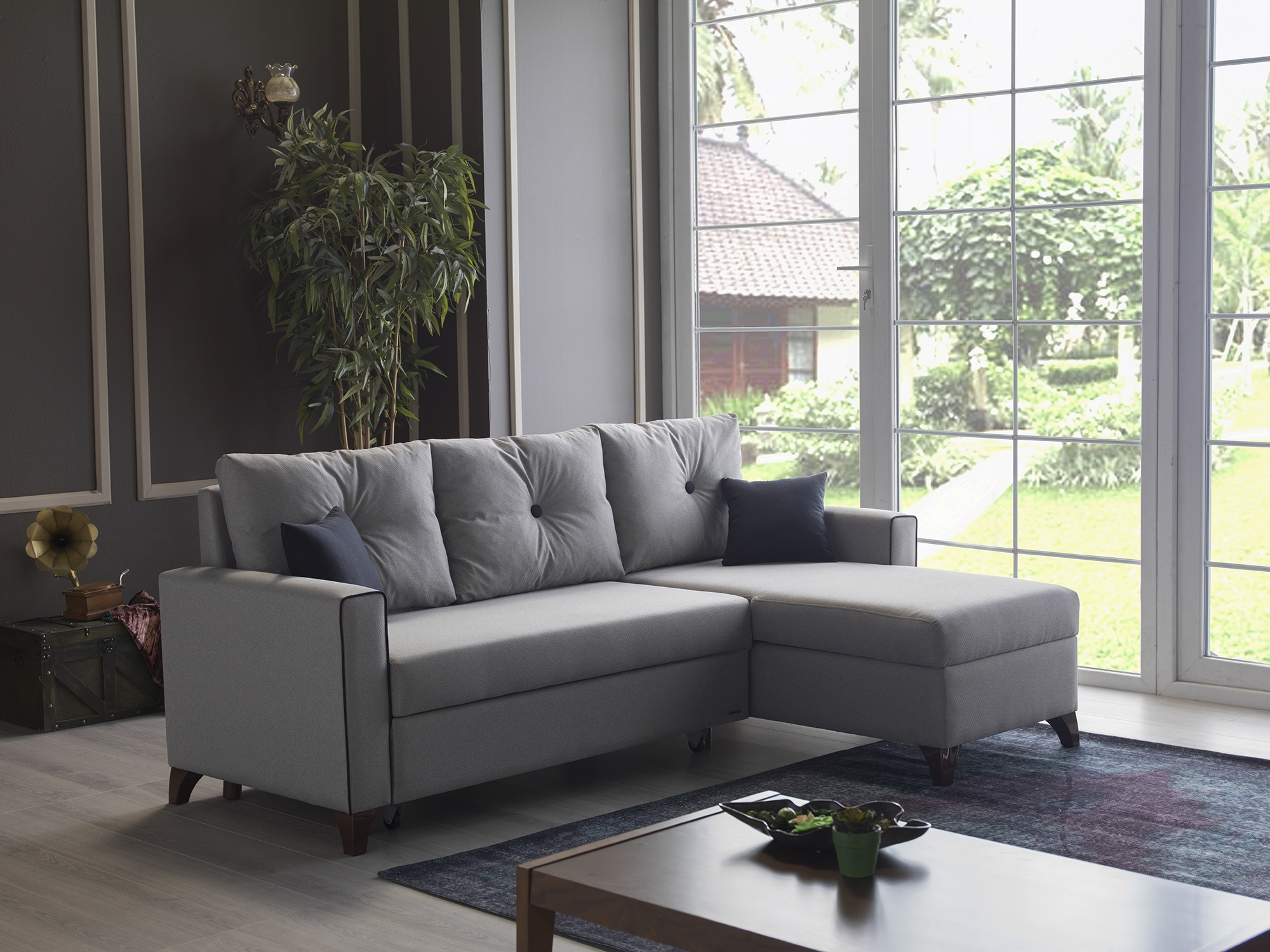 Sealy Sectional Sofa Bed | Baci Living Room In Lucy Dark Grey 2 Piece Sectionals With Raf Chaise (Image 21 of 25)
