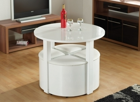Seconique Charisma Stowaway Dining Set In White Gloss | Allans Throughout White Gloss Dining Chairs (Image 22 of 25)