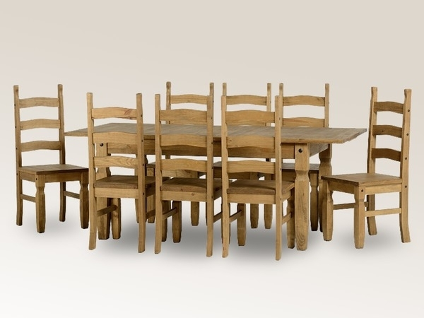 Seconique Corona 160Cm Pine Extending Dining Table And 8 Chairs Set Within Extending Dining Tables And 8 Chairs (Image 20 of 25)