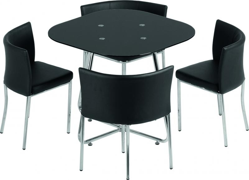 Seconique Washington Stowaway Dining Set – Black Glass Chrome With Stowaway Dining Tables And Chairs (View 20 of 25)