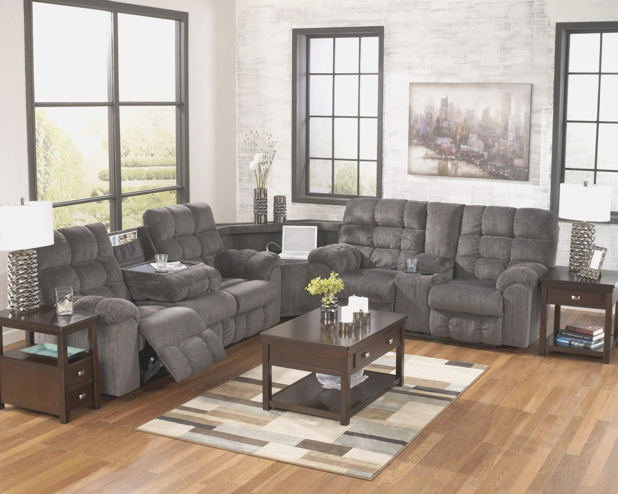 Sectional Recliner Sofa With Cup Holders Within Denali Light Grey 6 Piece Reclining Sectionals With 2 Power Headrests (Image 25 of 25)
