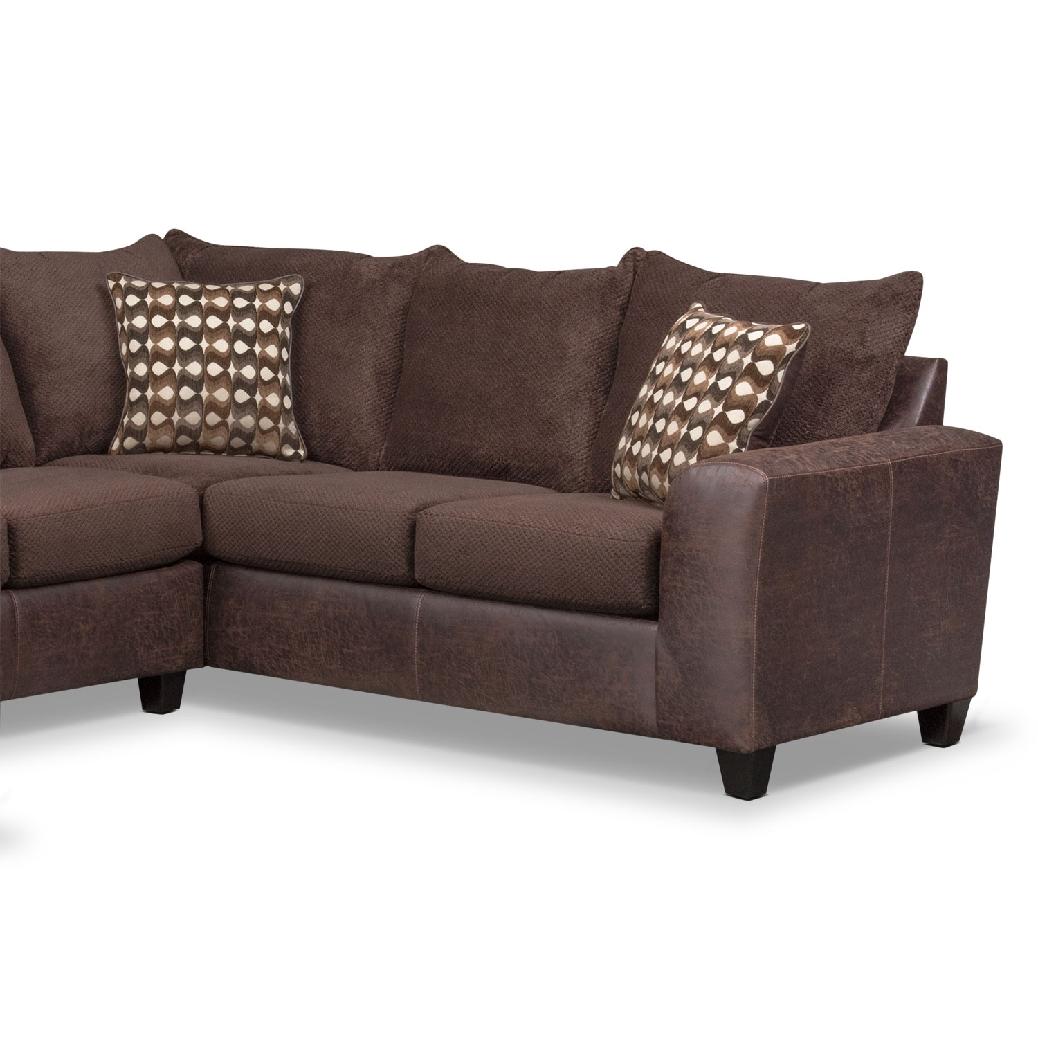 Sectional Sofa 3 Piece With Chaise Brando Modular Chocolate Value Pertaining To Evan 2 Piece Sectionals With Raf Chaise (Image 23 of 25)