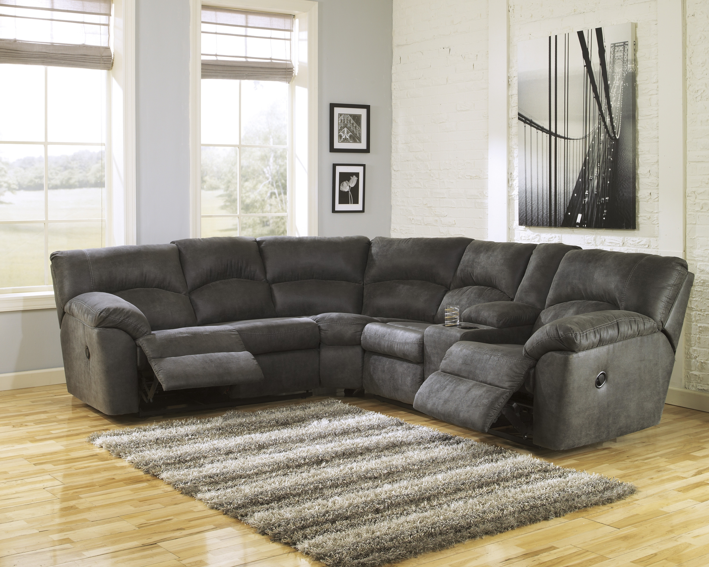 Sectionals Living Room   Furniture   Big Sandy Superstores Inside Denali Charcoal Grey 6 Piece Reclining Sectionals With 2 Power Headrests (Image 23 of 25)