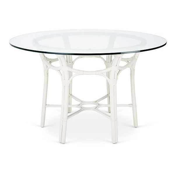 "Selamat Clementina 48"" Rattan Round Dining Table White (280 Kwd For White Circular Dining Tables (Image 20 of 25)"