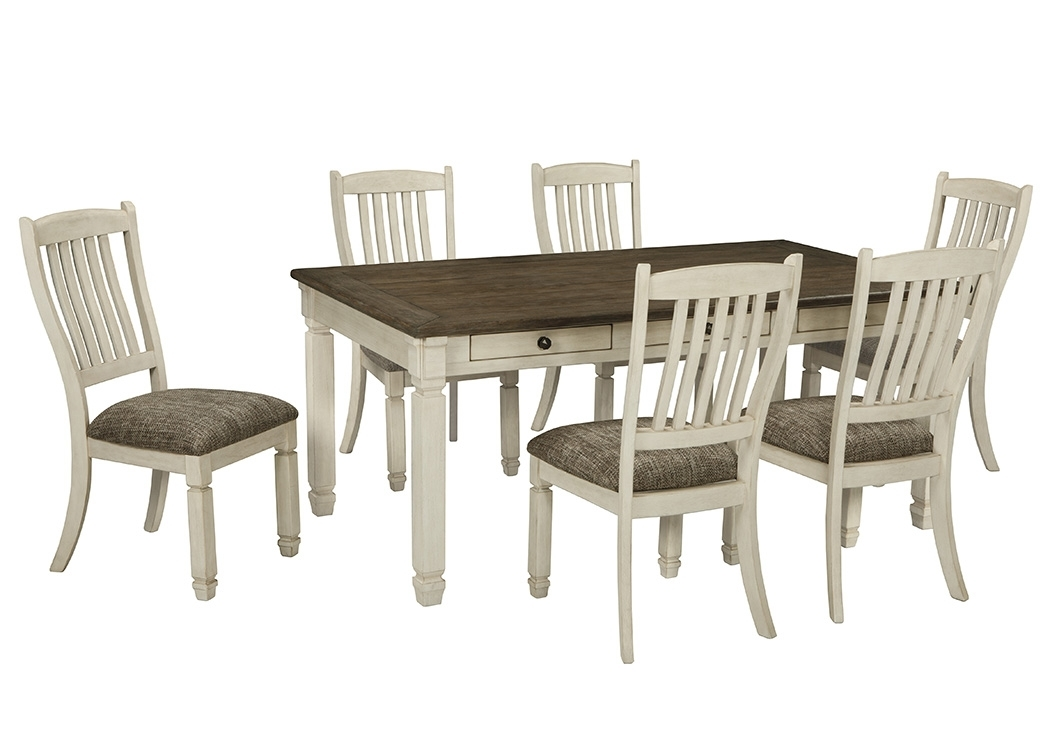Select Imports Furniture And Decor Bolanburg Antique White Inside Craftsman 7 Piece Rectangle Extension Dining Sets With Uph Side Chairs (Image 19 of 25)