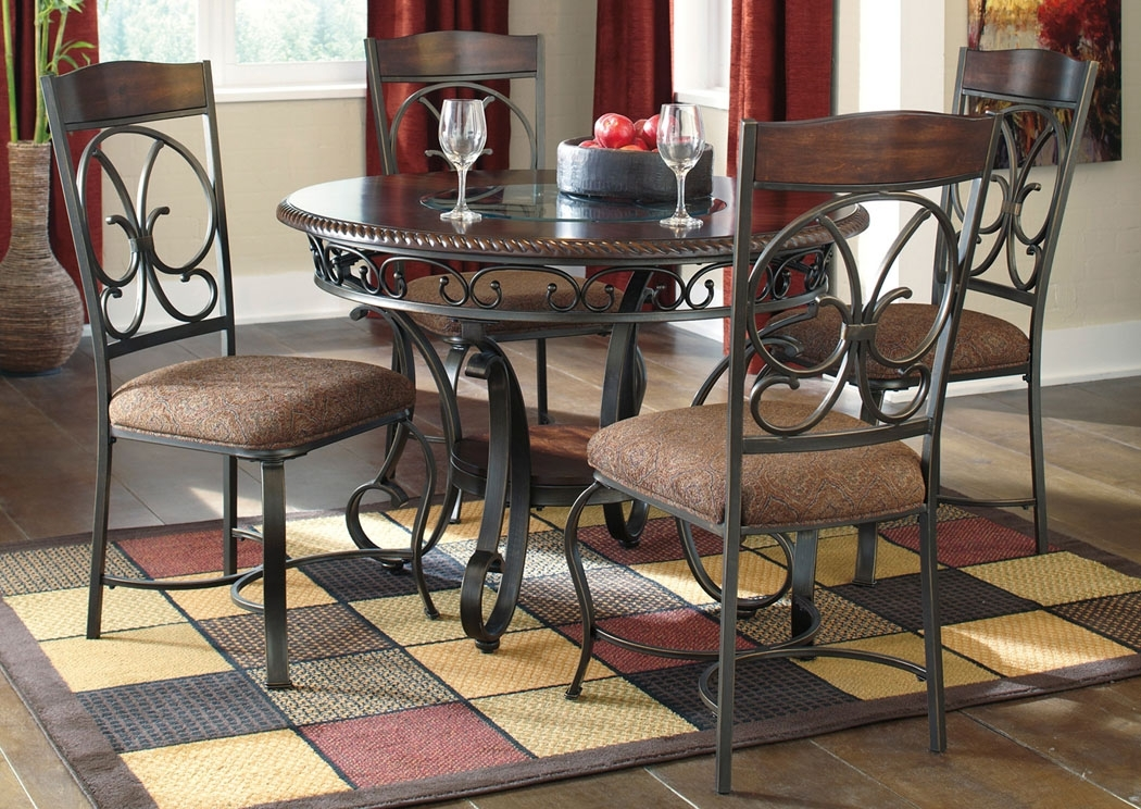 Select Imports Furniture And Decor Glambrey Round Dining Table W/4 Within Craftsman 9 Piece Extension Dining Sets With Uph Side Chairs (Image 16 of 25)