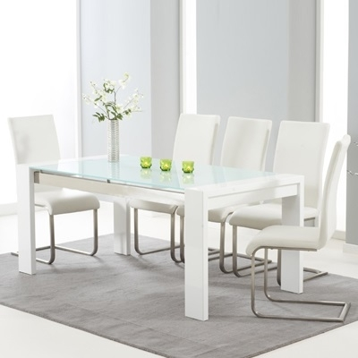 Selina White Gloss And Glass Dining Table With 6 Milan Ivory Chairs Inside White Gloss And Glass Dining Tables (View 15 of 25)
