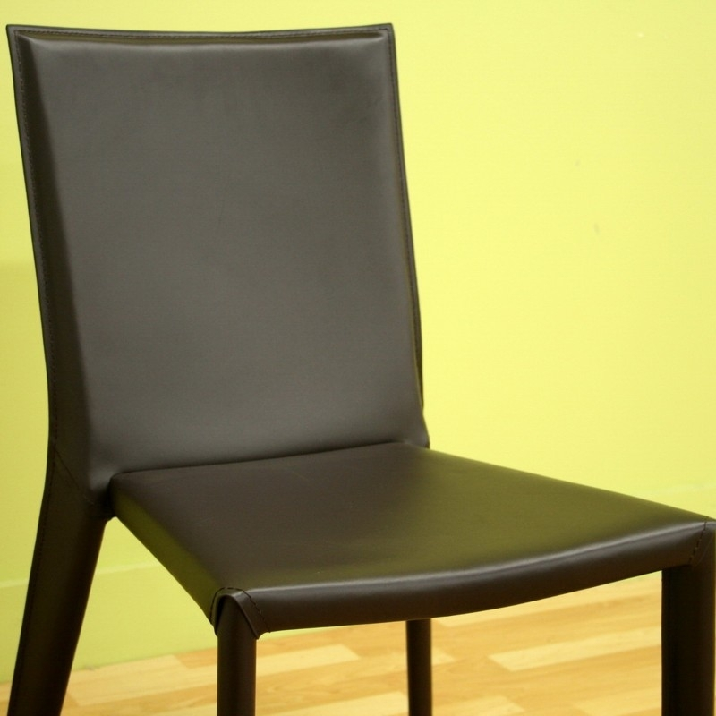 Semele Dark Brown Leather Dining Chair Throughout Dark Brown Leather Dining Chairs (Image 21 of 25)