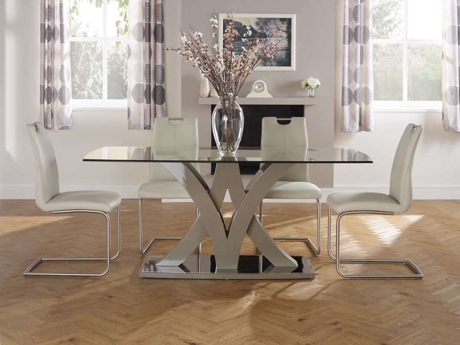Serene Barcelona Glass Dining Table | Michael O'connor Furniture Inside Barcelona Dining Tables (Image 25 of 25)