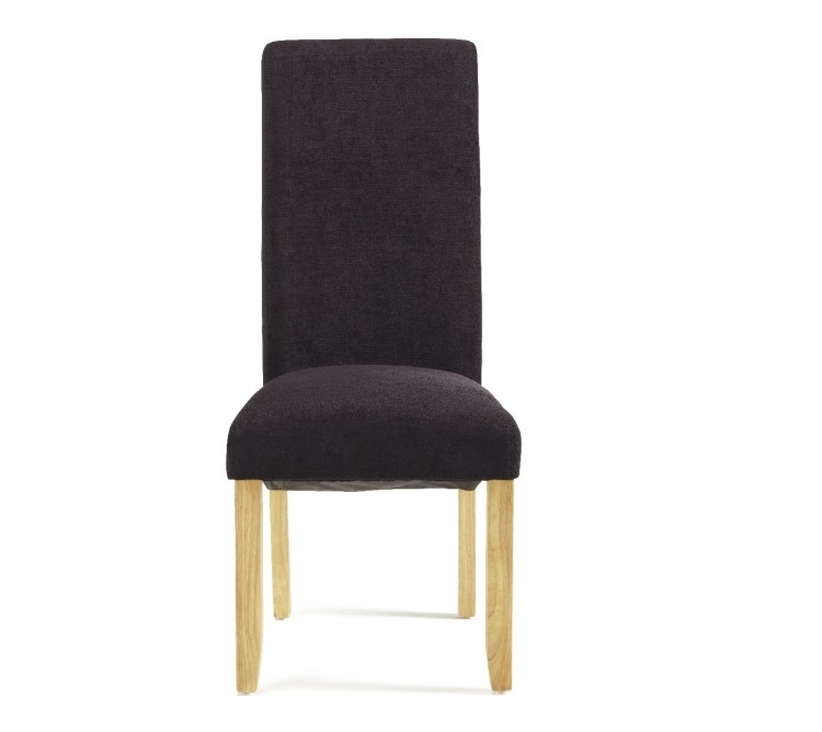 Serene Kingston Aubergine Fabric Dining Chairs With Oak Legs (Pair In Oak Fabric Dining Chairs (Image 21 of 25)