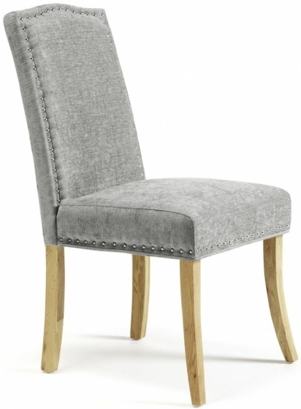 Serene Knightsbridge Dining Chairs In Steel Fabric With Oak Legs (Pair) Intended For Oak Fabric Dining Chairs (Image 22 of 25)