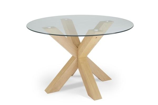 Serene Romford 120Cm Round Dining Table Glass/oak For Round Glass And Oak Dining Tables (Image 22 of 25)