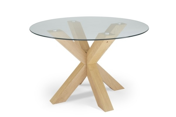 Serene Romford 120Cm Round Dining Table Glass/oak With Regard To Glass Oak Dining Tables (View 7 of 25)