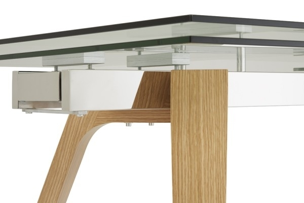 Serene Seville Extending Dining Table 160Cm/200Cm Clear Glass With Inside Oak And Glass Dining Tables (View 24 of 25)