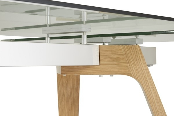 Serene Seville Extending Dining Table 160Cm/200Cm Clear Glass With Intended For Glass Oak Dining Tables (Image 23 of 25)