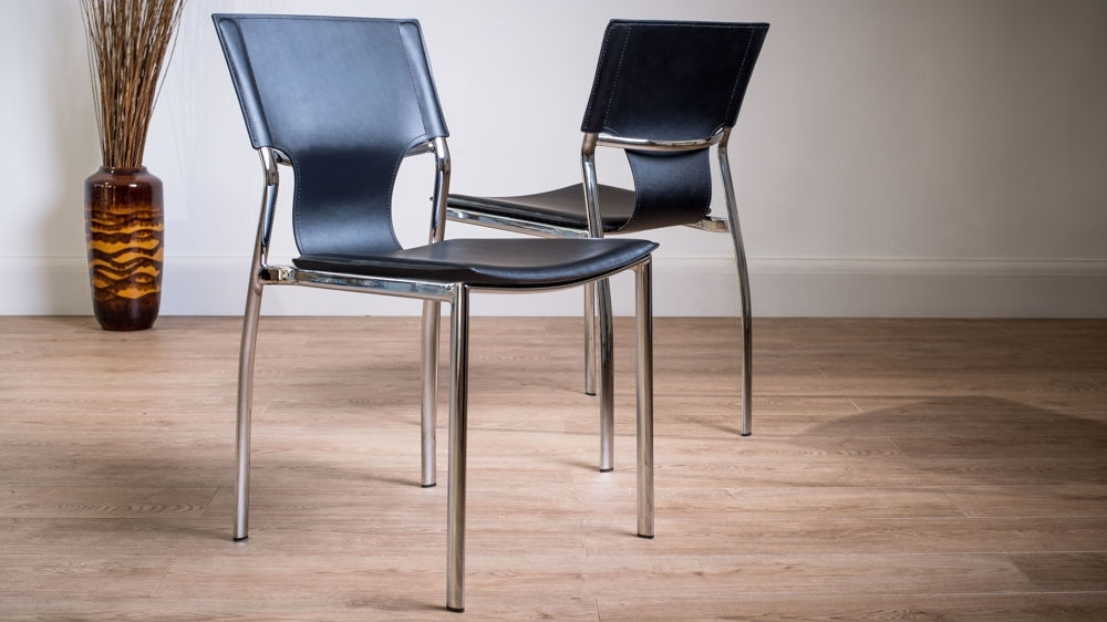 Serroni Trendy Chrome Dining Chair | Modern Black Or White Faux Leather Intended For Chrome Dining Chairs (Image 20 of 25)