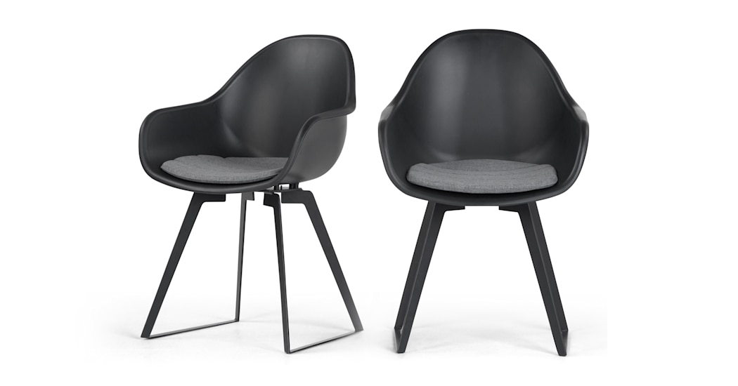 Set Of 2 Dining Chairs In Black Concrete, Boone | Made Throughout Black Dining Chairs (Image 20 of 25)