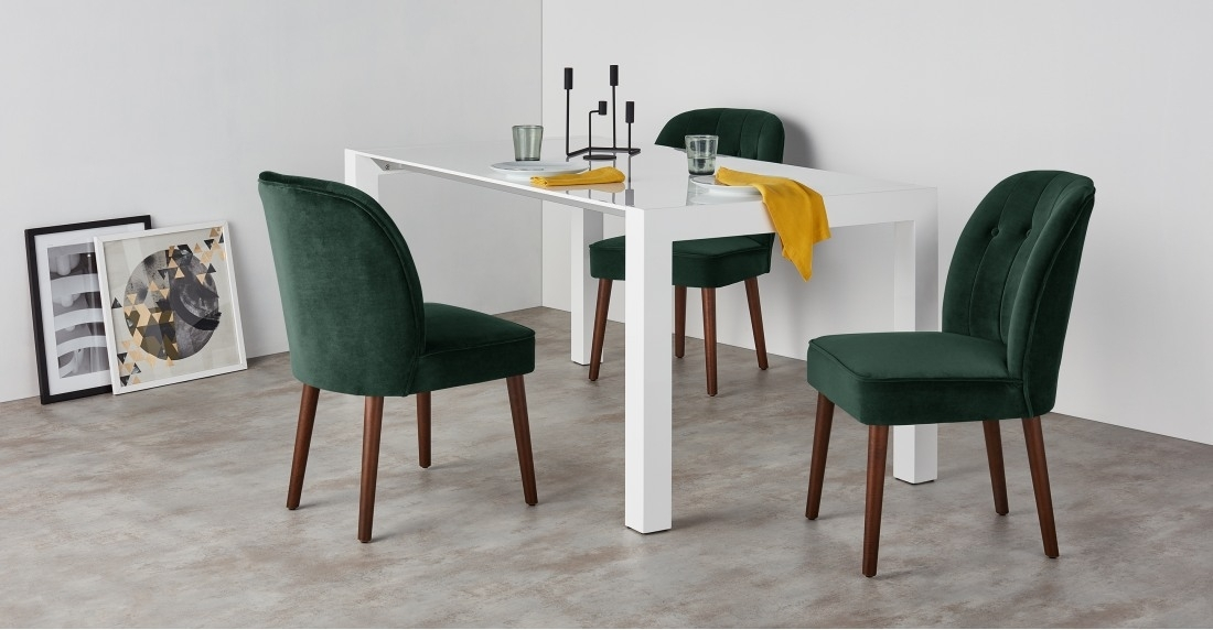 Set Of 2 Dining Chairs In Pine Green Velvet, Margot | Made Pertaining To Green Dining Tables (Photo 19 of 25)
