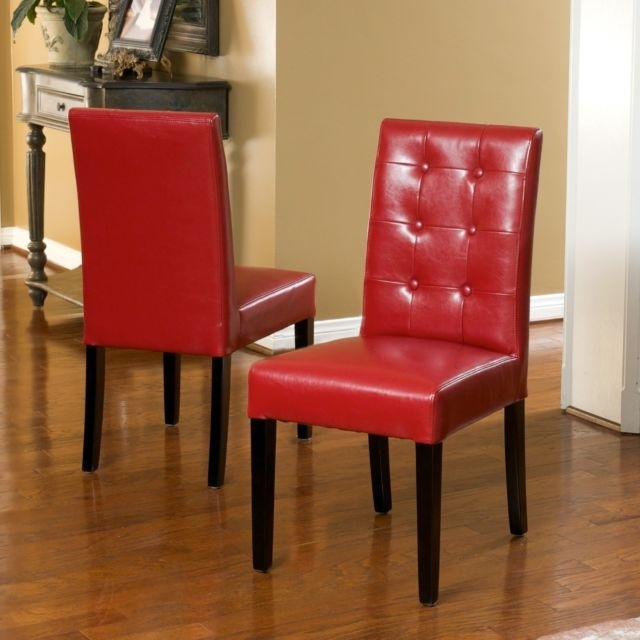 Set Of 2 Elegant Design Red Leather Dining Chairs W Tufted Button Within Red Leather Dining Chairs (View 21 of 25)