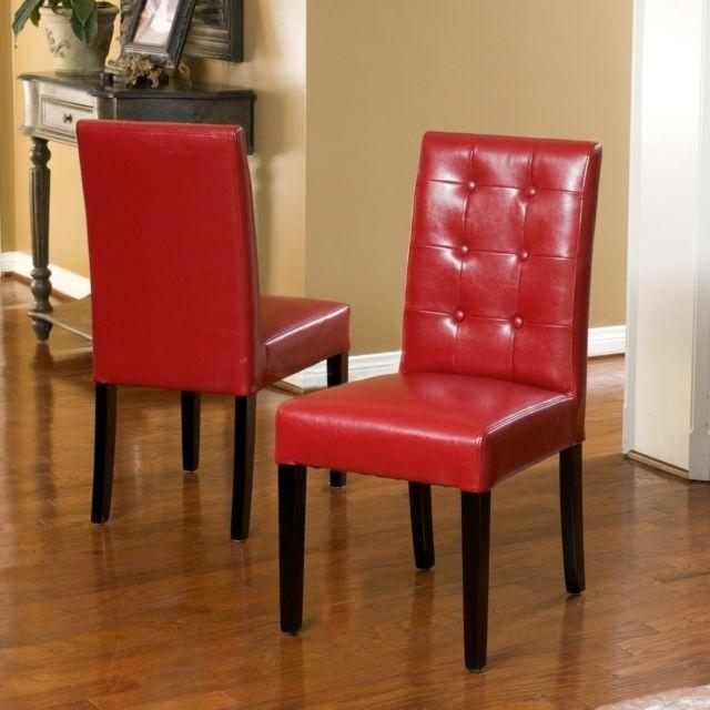 Set Of 2 Elegant Design Red Leather Dining Chairs W Tufted Button Within Red Leather Dining Chairs (Image 23 of 25)