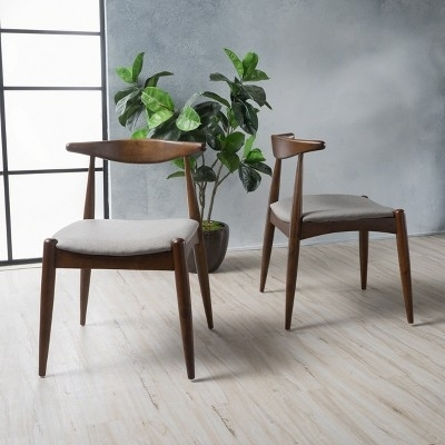 Set Of 2 Francie Mid Century Dining Chairs Beige/walnut Brown Regarding Caira 9 Piece Extension Dining Sets With Diamond Back Chairs (Image 16 of 25)
