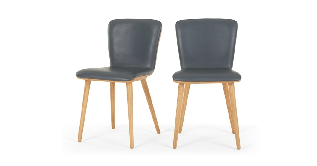 Set Of 2 Geoffrey Dining Chairs, Oak And Pu Leather | Made Pertaining To Oak Leather Dining Chairs (Image 23 of 25)