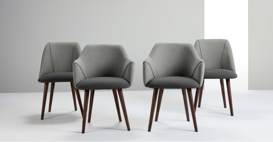 Set Of 2 High Back Dining Chairs, Marl And Grey, Lule | Made Regarding High Back Dining Chairs (Image 16 of 25)