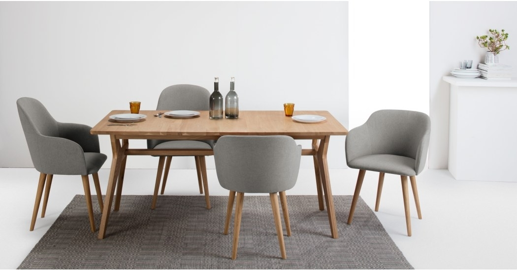 Set Of 2 Low Back Dining Chairs In Grey And Oak, Stig | Made Intended For Dining Chairs (Image 24 of 25)
