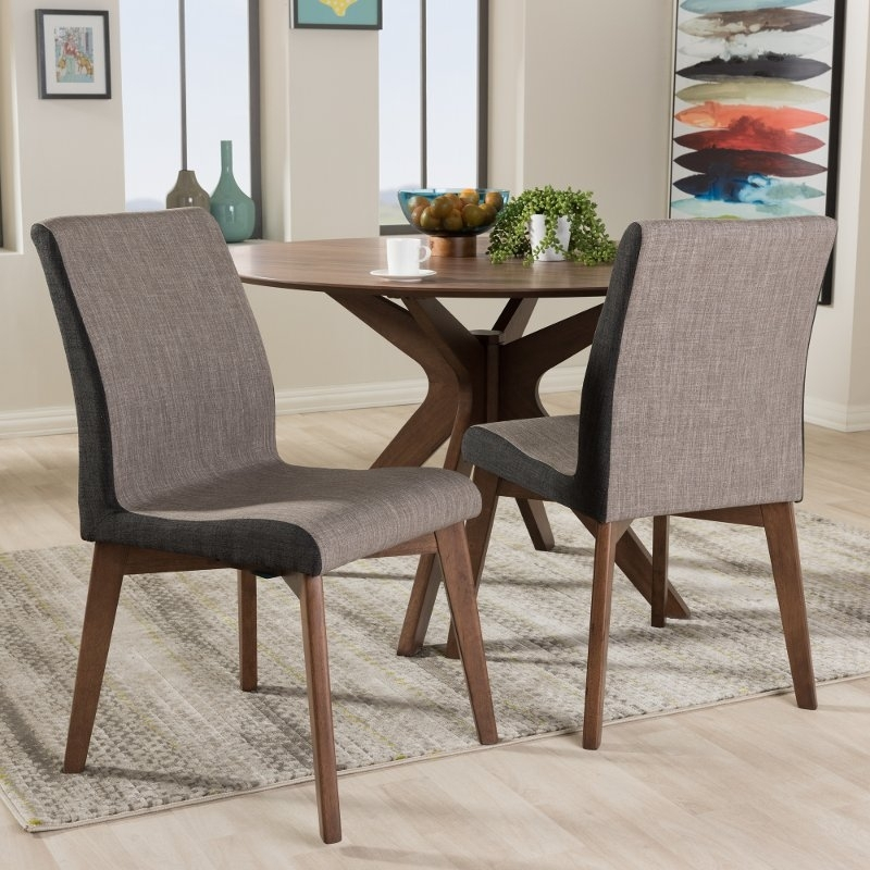 Set Of 2 Mid Century Modern Brown Dining Room Chairs – Kimberly | Rc Intended For Modern Dining Room Sets (Image 25 of 25)