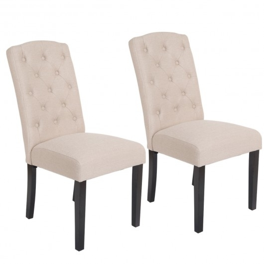 Set Of 2 Modern Accent Fabric Dining Chairs – Kitchen & Dining Room For Fabric Dining Chairs (Image 24 of 25)