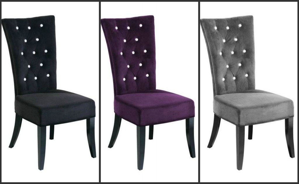 Set Of 2 Radiance High Back Cushioned Dining Chairs Velvet Cover With Regard To High Back Dining Chairs (Image 17 of 25)