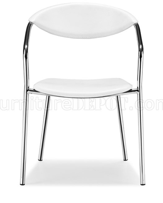 Set Of 4 Black Or White Leather Dining Chairs With Chrome Frame Pertaining To Chrome Leather Dining Chairs (Image 20 of 25)