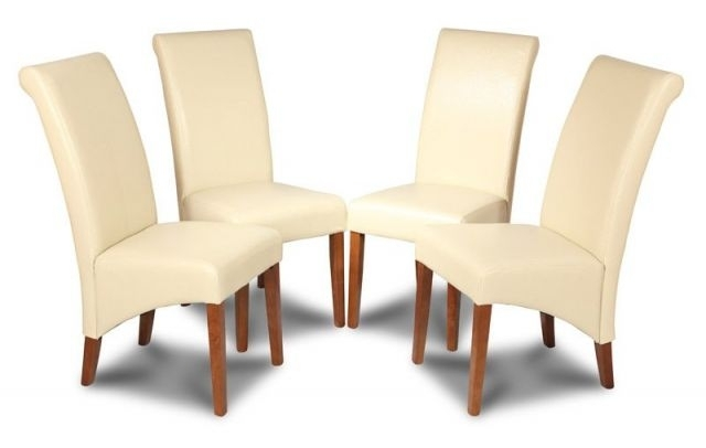 Set Of 4 Cream Dining Chairs Made With Real Leather Pertaining To Real Leather Dining Chairs (Image 20 of 25)