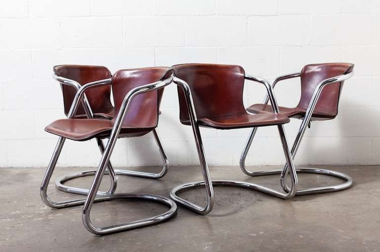 Set Of 4 Leather And Chrome Dining Chairs At 1Stdibs In Chrome Dining Room Chairs (View 2 of 25)