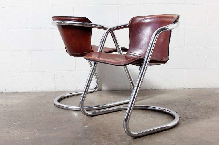 Set Of 4 Leather And Chrome Dining Chairs At 1Stdibs Top Grain With Regard To Chrome Dining Chairs (Image 21 of 25)