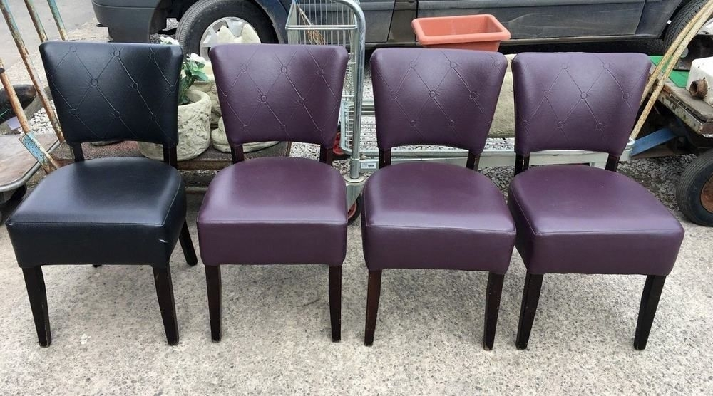 Set Of 4 Mix Purple / Black Faux Leather Dining Chairs / Cafe / Bar With Regard To Purple Faux Leather Dining Chairs (View 6 of 25)
