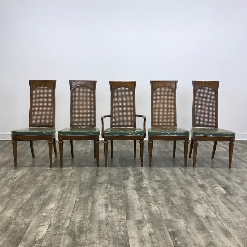 Set Of 5 Cane Back Dining Chairs – Marketsquare Chicago Throughout Market 6 Piece Dining Sets With Side Chairs (Image 19 of 25)