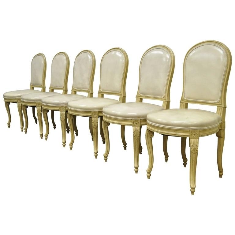 Set Of 6 French Louis Xv Style Carved And Painted Cream Leather Intended For Cream Leather Dining Chairs (Image 23 of 25)