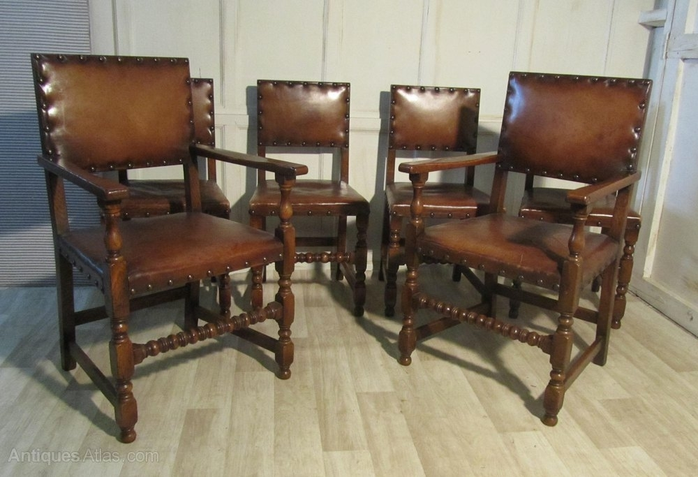 Set Of 6 Gothic Oak And Leather Dining Chairs – Antiques Atlas Intended For Oak Leather Dining Chairs (Image 24 of 25)