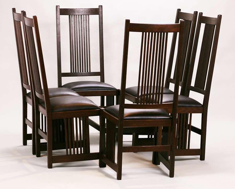 Set Of 6 Gustav Stickley Tall, Spindled Side Chairs (Image 20 of 25)