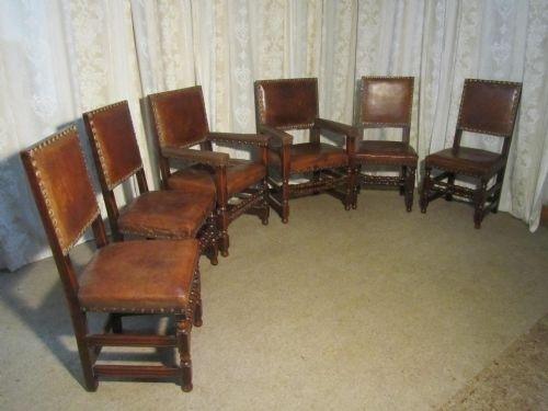 Set Of 6 Heavy Gothic Oak And Leather Dining Chairs | 184703 In Oak Leather Dining Chairs (Image 25 of 25)
