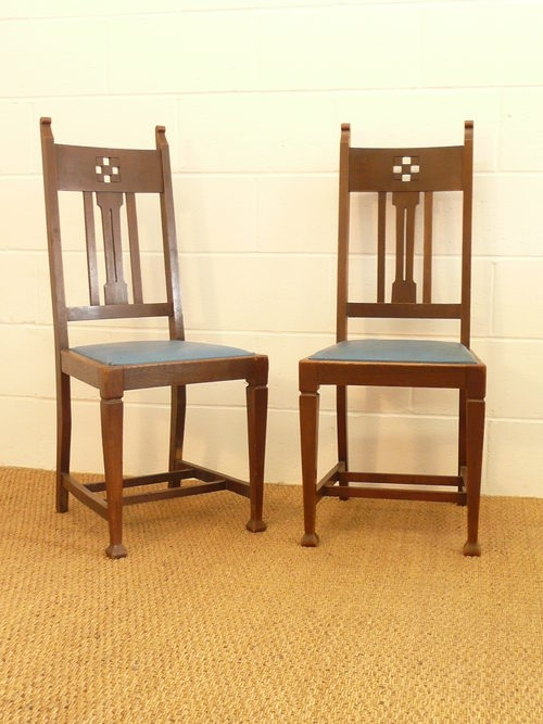 Set Of 8 Arts Crafts Glasgow Oak Dining Chairs – Antiques Atlas Within Glasgow Dining Sets (Image 22 of 25)