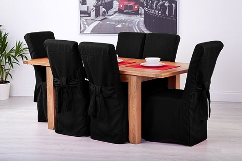 Set Of 8 Black Linen Fabric Dining Chair Covers For Scroll Top High Pertaining To High Back Leather Dining Chairs (Image 23 of 25)